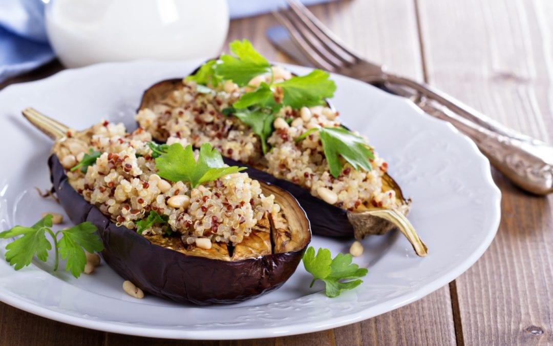 Quinoa stuffed eggplant (Vegan, Vegetarian)