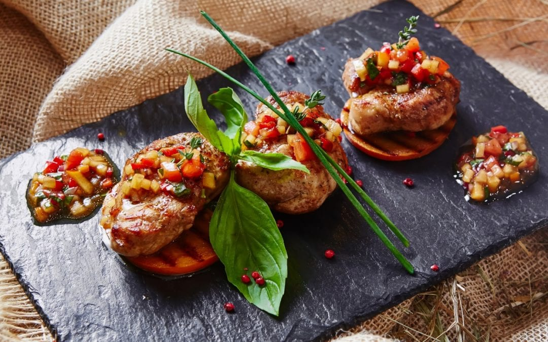 Veal medallions and salsa